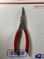 "Snap On Red Vinyl Grip 8"" Long Needle Nose Pliers 96ACF"