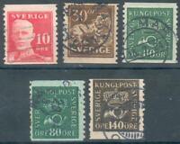 Schweden Lot mit 5 Werten aus Mi.-Nr.127,131x,2x134x,136z o (MICHEL EURO 44,00)