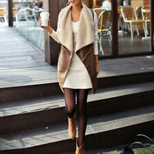 2017 Autumn Faux Fur Vest Lady Warm Cream Waistcoat Long Gilet Jacket Outerwear