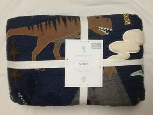 POTTERY BARN KIDS JURASSIC QUILT FULL/QUEEN  BLUE/GRAY NEW