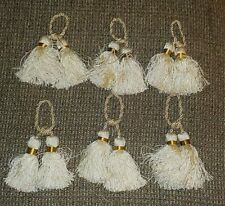 """Set of 6 white & gold fringed drapery curtain rope double tassels, rope 5 1/2"""""""