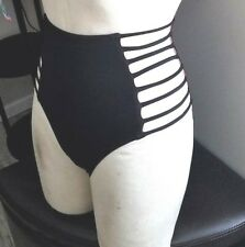 VICTORIA'S SECRET PINK BIKINI BOTTOM STRAPPY HIGH WAIST BLACK LARGE L NWOT