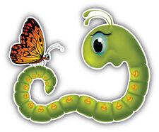 Goggle Eyed Caterpillar Butterfly Cartoon Car Bumper Sticker Decal 5'' x 4''