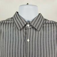 Hugo Boss Sharp Fit Mens Gray Striped Dress Button Shirt Sz 17 36/37