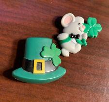 Vintage St Patrick's Day Plastic Pin Mouse & Hat Bon7-33