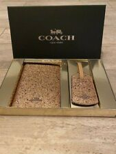 Coach F38644 Passport Case Luggage Tag Travel Set Leather Glitter Star Gold