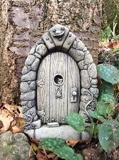 STONE GARDEN FAIRY DOOR FAIRYTALE PIXIE HOUSE WALL PLAQUE ORNAMENT