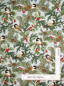 Christmas Birds Festive Chickadees Sea Mist Cotton Fabric Benartex By Yard