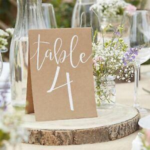 Rustic Brown Kraft Wedding Table Numbers 1 - 12 (Free Standing)
