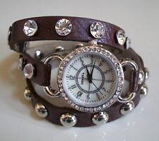 Brown/Silver Wrap Around Sparkly Rhinestones Fashion Women's/Girl's Watch