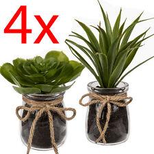 SET OF 4 SUCCULENTS GLASS PLANT FLOWER HOME DECORATION PATIO ARTIFICIAL POT NEW