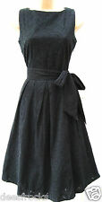 SIZE 8 50s STYLE BRODERIE ANGLAIS FULL SKIRT BLACK SUMMER COTTO DRESS US 4 EU 36
