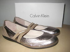 Calvin Klein Womens Rosella Metallic Bronz Leather Suede Flats Shoes 5.5 Med