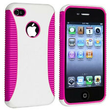 Rugged Rubber Matte Pink TPU White Hard Case Cover Skin For iPhone 4 4S 4th Gen