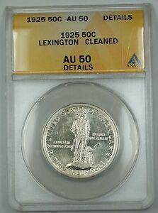 1925 Lexington Commem Silver Half Dollar ANACS AU-50 Details Cleaned (Better)