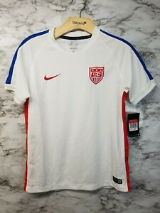 Nike USA Boys Soccer Jersey Sz L White/Blue New with tags Old Logo RARE 50$ 2011