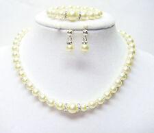 Ecru Glass Pearl Necklace/Bracelet/Earrings w/Rhinestone for Young Girl