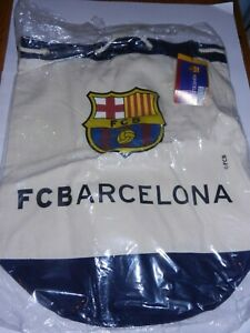 OFFICIAL FC BARCELONA CANVAS DRAWSTRING CYLINDER BEACH TOTE BAG/ NEW