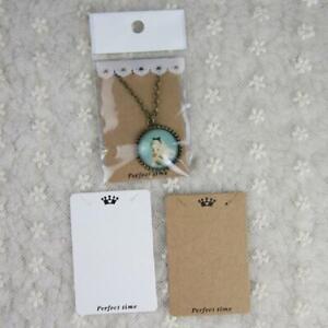 100 Pcs 7.5x5cm Kraft Paper Ear Studs Hang Tag Jewelry Display Card Pendant DIY