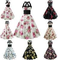 Printing halter Dress vintage Retro women Sleeveless Swing Dresses Evening Party