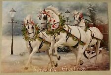 New White Arabian Horse Horses Pulling Sleigh Christmas Postcard Card