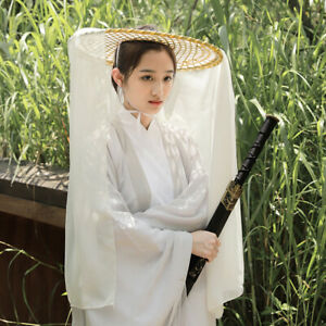 Bamboo Braided Hat Ancient Hat Cosplay Costume Hanfu Cover Face Veil Photography
