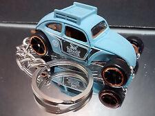 Light Blue VW Beetle Key Chain Ring Hot Rod Diecast Splitty Volkswagen