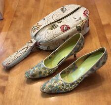 Mid Century Vintage Cosmopolitan Vitality Embroidered Multi Color Pumps Heels 9B