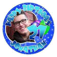 PERSONALISED YOUR PHOTO EDIBLE ICING IMAGE 21st BIRTHDAY CAKE TOPPER ROUND - BLU