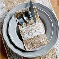 10xHessian Rustic Burlap Lace Cutlery Holder Pouch Bag Wedding Party Table Decor