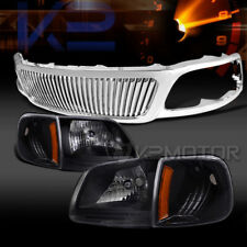 99-03 Ford F150 Black Clear Headlights Corner Lamps+Chrome Vertical Grille