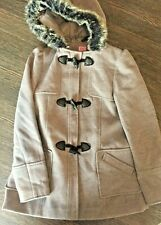 F&F GIRLS LINED DRESS COAT AGED 11-12 YEARS GREY WITH HOOD (FAUX FUR TRIM)