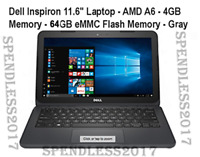 "Dell Inspiron 11 3180 Laptop 11.6"" AMD A6-9220e 64GB SSD 4GB RAM, BRAND NEW"