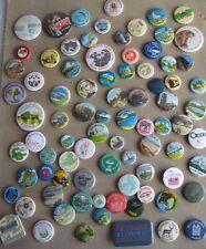 VINTAGE 1960-80s Collection large job lot HOLIDAY places souvenir tin pin BADGES