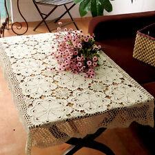 Hand Crochet Lace Doily Placemat Table Cloth Cotton 80*120cm Beige Tablecloth