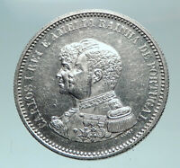 1898 PORTUGAL Cross Discovery of India 400YR Genuine Silver 200 Reis Coin i82240