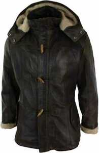 Mens Duffle Over Coat Trench Hooded Long Genuine Sheepskin Leather Jacket
