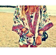 ZARA Oriental Floral Print and white Flowing Kimono Jacket poncho one size S