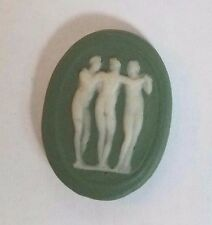 Antique Vintage Green Oval WEDGEWOOD Wedgwood like 3 GRACES CAMEO Stone #H24
