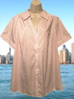 Lane Bryant Women's Blouse Plus Sz 22 Pink White Striped Short Sleeve Shirt Top