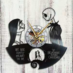 The Nightmare Before Christmas Clock Jack and Sally Gift Decor Vinyl Record Wall