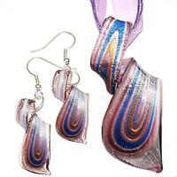 Silver Red Trapezoid Lampwork Glass Murano Bead Pendant Ribbon Cord Necklace