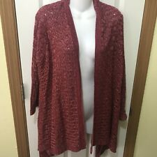 ANA Red Marled Open Front Cardigan Sweater Sz L