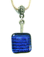 "DICHROIC Fused Glass Small PENDANT Bright Cobalt Blue 1/2"" 12mm Striped Lines"