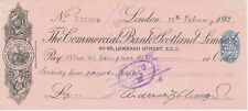 GB OLD CHECKS 1932, The Commercial Bank Scotland Ltd., LONDON; Scheck
