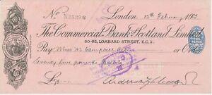 GB OLD CHECKS 1932, The Commercial Bank Scotland Ltd., LONDON; Scheck