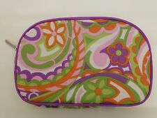 Clinique Purple, Green & Orange Flower Design Make up / Cosmetic Bag / Purse New