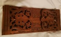 Antique Wooden Extending Book Slide Bookends Black Forest Asian Floral Design
