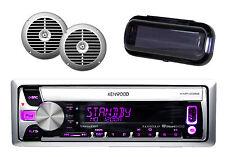 "New Boat Radio Kenwood iPHone iPod Input w/2 Silver 6.5"" Speakers, Splash Cover"