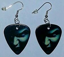 Silver Plated Dangle Jewelry Masquerade Vampire Guitar Pick Earrings